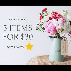 ⭐️ 5 items for $30